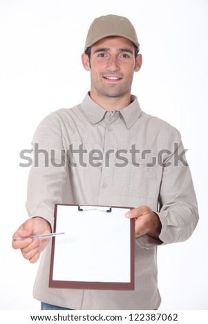 Courier with a pen and clipboard - stock photo