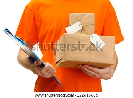 courier with parcel boxes, isolated on white - stock photo
