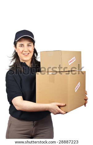 Courier woman delivering a parcels fragile isolated on white background - stock photo