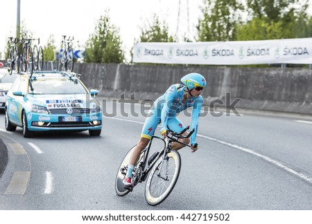 COURSAC,FRANCE-JUL 26:The Danish cyclist Jakob Fuglsang (AstanaTeam) pedaling during the stage 20 ( time trial Bergerac - Perigueux) of Le Tour de France 2014.