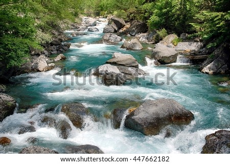 Course and little waterfalls along the Bujaruelo river in Ordesa National Park in Spain