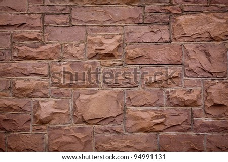 Coursed Sandstone Block Wall Texture - stock photo