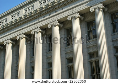 Court Building Pillars - stock photo