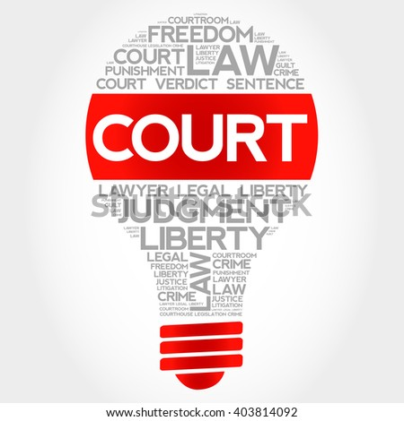 Court bulb word cloud concept - stock photo