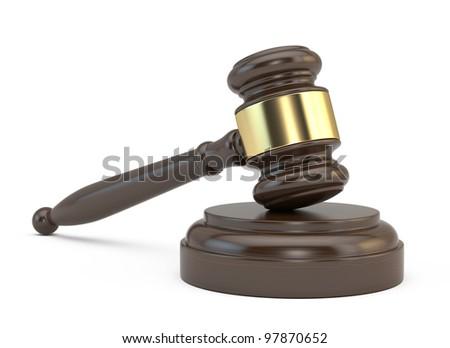 Court gavel isolated on white background - stock photo