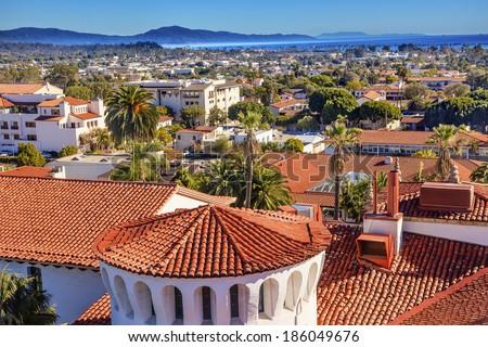 Court House Buildings Orange Roofs Pacific Ocean Santa Barbara California  - stock photo