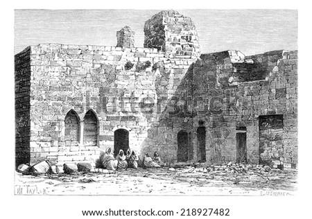 Court of Kalat es Schema Castle, near Tyre, Lebanon, vintage engraved illustration. Le Tour du Monde, Travel Journal, 1881 - stock photo