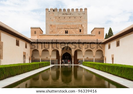 Court of Myrtles in the Alhambra palace Granada Spain - stock photo
