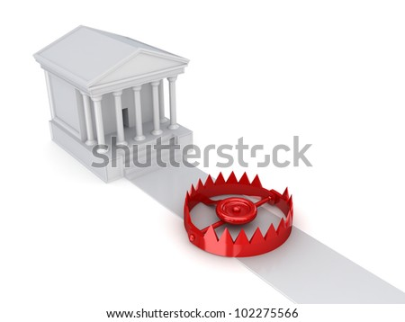 Courthouse and a trap.Isolated on white background.3d rendered. - stock photo