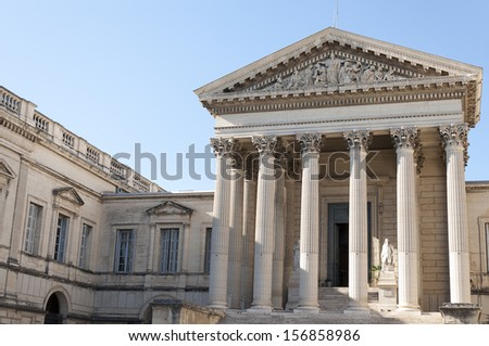 Courthouse in the city of Montpellier, a city in southern France, which is the capital of the Languedoc-Roussillon, France