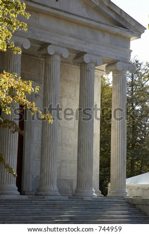 Courthouse with pillars - stock photo