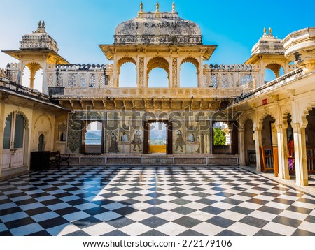Courtyard at City Palace in Udaipur, Rajasthan, India - stock photo