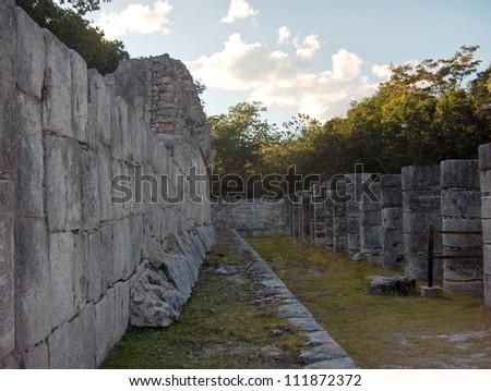 Courtyard in Columns of the kings, Chichen Itza Mayan Ruins in Riviera Maya, Mexico - stock photo