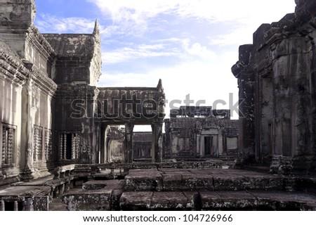 Courtyard inside of Angkor Wat, Siem Reap, Cambodia - stock photo