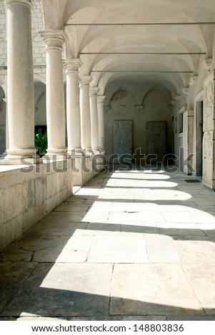 Courtyard of a Temple Croatia - stock photo