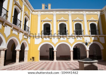 Courtyard of Campechano institute, Mexico - stock photo