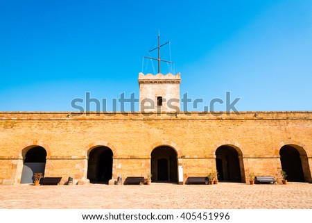 courtyard of montjuic castle, barcelona - stock photo