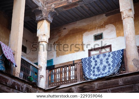Courtyard of old Moroccan house in Marrakesh - stock photo