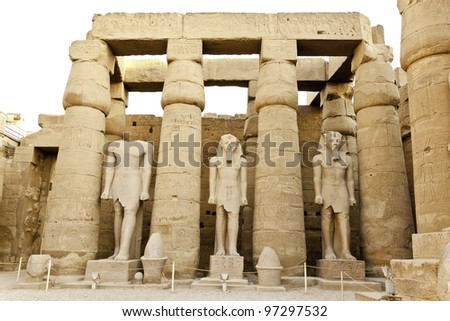 courtyard of ramesses II in luxor temple, egypt - stock photo