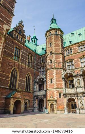 Courtyard of the Frederiksborg Palace, Denmark - stock photo