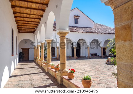 Courtyard of the House of Independence, where Bolivian independence happened - stock photo