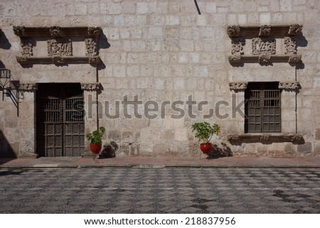 Courtyard of the 18th century baroque style Spanish colonial house Casa Tristan del Pozo in Arequipa, Peru - stock photo