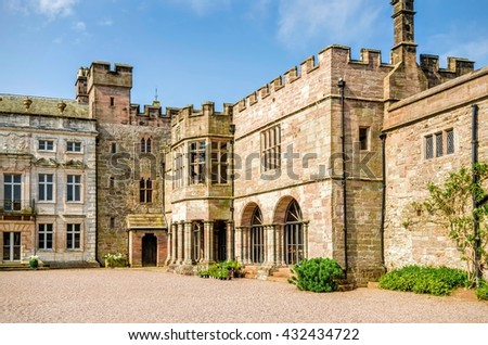 Courtyard outside Hutton in the Forest, Skelton, Cumbria, England - stock photo