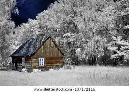 Courtyards and cottage in the countryside, Poland .The infrared image. - stock photo