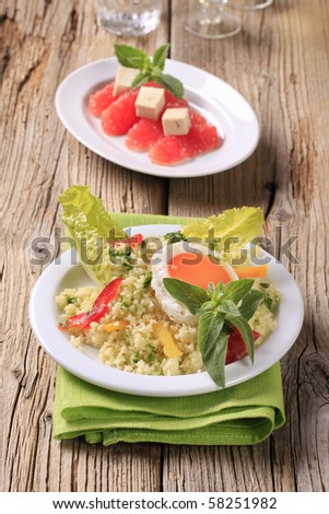 Couscous salad and fried egg