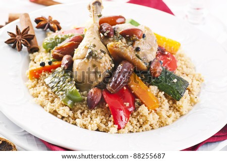 couscous with chicken and vegetable - stock photo