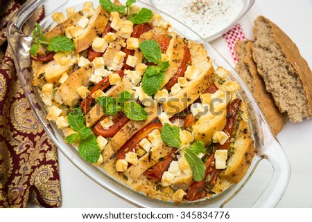 Couscous with chicken,cheese feta and tomato