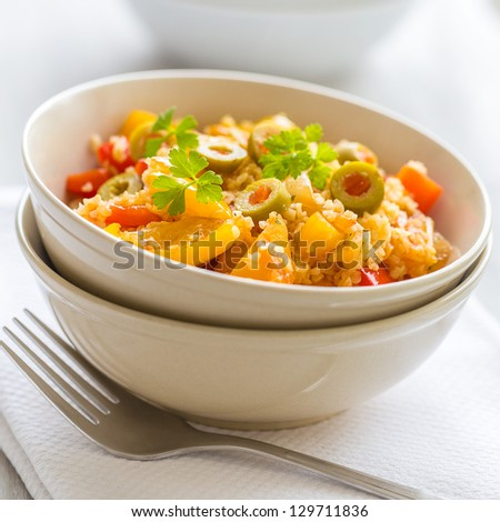 couscous with vegetables - stock photo
