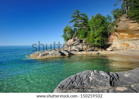 Cove along Lake Superior Pictured Rocks National Lakeshore - stock photo