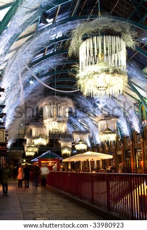covent garden in christmas with pendant light decoration - stock photo