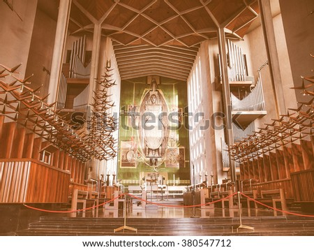 COVENTRY, UK - SEPTEMBER 22, 2011: Interior view of St Michael Cathedral church designed by architect Sir Basil Spence, vintage