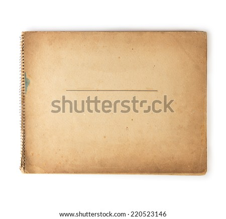 Cover of old 1950s - 1960s sketchbook isolated on white.  - stock photo