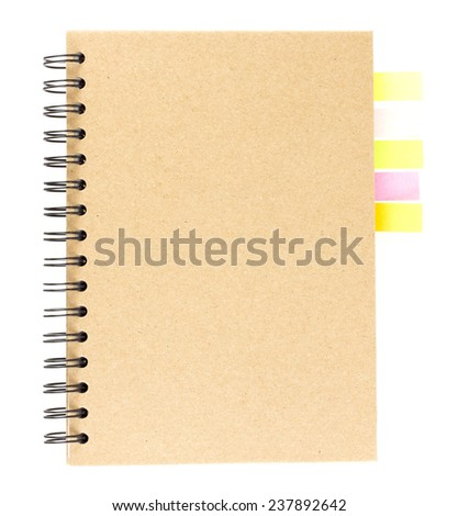 Cover of spiral notebook isolated on white with colorful note paper