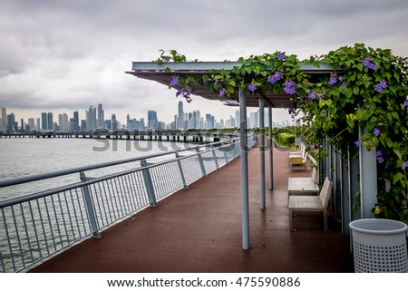 Covered benches on Cinta Costera - Panama City, Panama