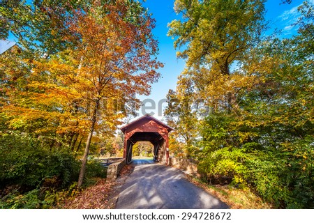 Covered bridge in Western Maryland during Autumn - stock photo