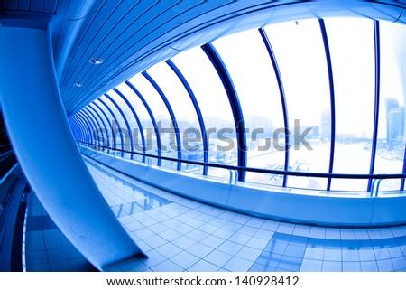 Covered bridge. Moscow City - stock photo