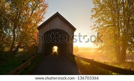 Covered Bridge Sunrise - stock photo