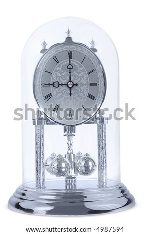 Covered chrome clock isolated with clipping path over white background - stock photo