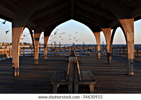 Covered pier on the beaches of Tybee island Savannah Georgia