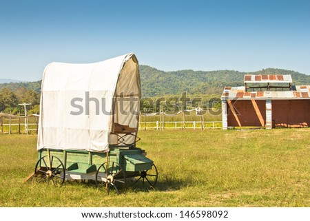 covered wagon  - stock photo