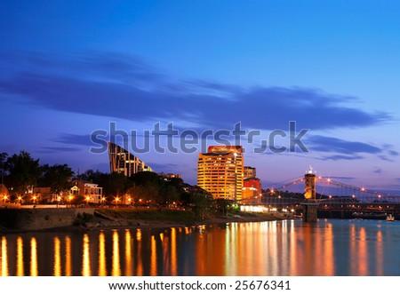 Covington Kentucky At Night, Across The Roebling From Cincinnati - stock photo