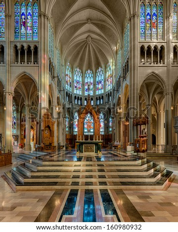 COVINGTON, KENTUCKY - OCTOBER 28: Interior of the St. Mary's Cathedral Basilica of the Assumption on October 28, 2013 in Covington, Kentucky - stock photo