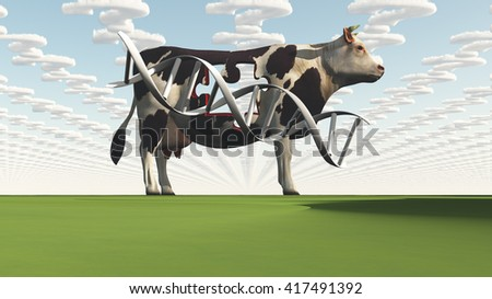 Cow and questions clouds GMO 3D Render - stock photo