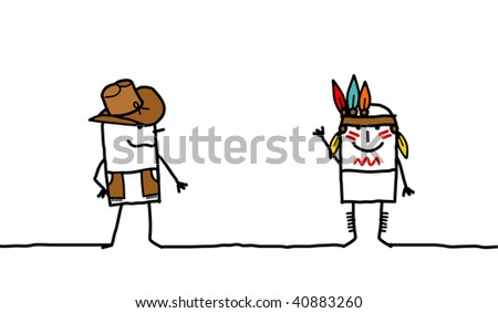 Cow boy & Indian - stock photo