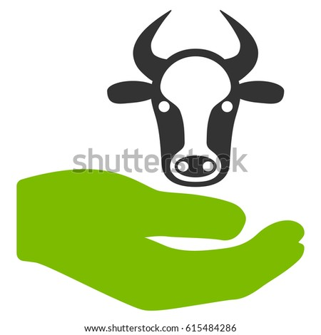 Cow Care Hand raster icon. Flat bicolor eco green and gray symbol. Pictogram is isolated on a white background. Designed for web and software interfaces.