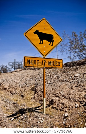 Cow Crossing Sign - stock photo